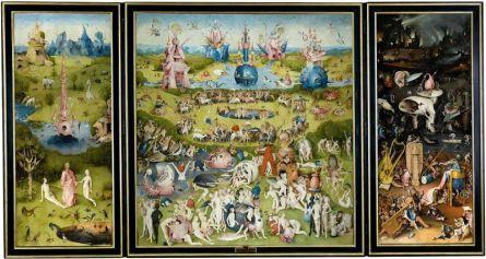 """Hieronim Bosch, Ogród rozkoszy ziemskich (Tuin der lusten; ok. 1500). Najgenialniejszy tryptyk w historii pochodzi z Niderlandów. Jego szczegóły można badać dzięki tej stronie. Co się wyprawia na """"piekielnym"""" panelu po prawej, ludzkie pojęcie przechodzi."""